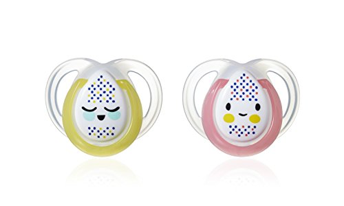 Tommee Tippee Night time - Chupetes para bebés entre 0 y 6 meses (pack de 2), modelos surtidos