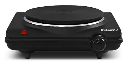Elite Gourmet Countertop Electric Hot Burner, Temperature Controls, Power Indicator Lights, Easy to Clean, Single, Black