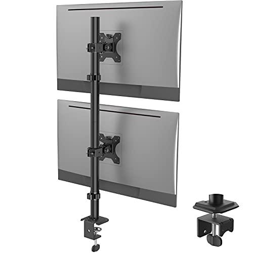 WORLDLIFT モニターアーム 上下2画面 縦 デュアル ロングポール ディスプレイアーム 13~32インチ対応 耐荷重各8kg 多角度調節