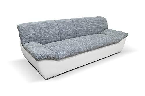 DOMO Collection Splash Sofa, 3-Sitzer Couch - Garnitur - 232 x 96 x 76 cm, 3er Polster in weiß / weiß-grau