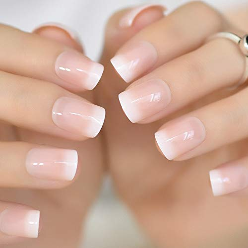CoolNail Pink Nude White French Fake Nails Squoval Square UV Gel False Press on Nails for Girl Full Cover Wear Finger Nail Art Tips