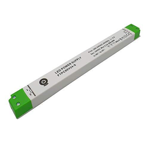 LED Netzteil 24V 2,5A 60 W Transformator DC | Slim Gehäuse | Trafo LED Beleuchtung: Band Streifen Lampe Licht Röhre | LED Power Driver 24 V 60 Watt Strip | Vorschaltgerät Transformatoren