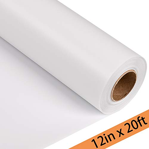 "Joyinland Heat Transfer Vinyl HTV Rolls - 12"" x 20' White Iron On Vinyl for Cricut and Silhouette Cameo - DIY Heat Transfer Design for T Shirts(White)"