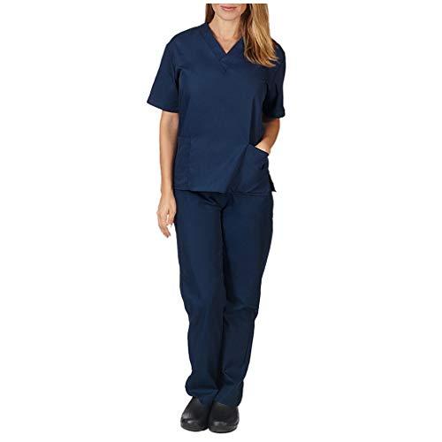 FRAUIT Divisa Ospedaliera Unisex Uomo Donna Sanforizzato Pantaloni + Casacca Scollo A V Uniforme Medica con Camice E Pantalone
