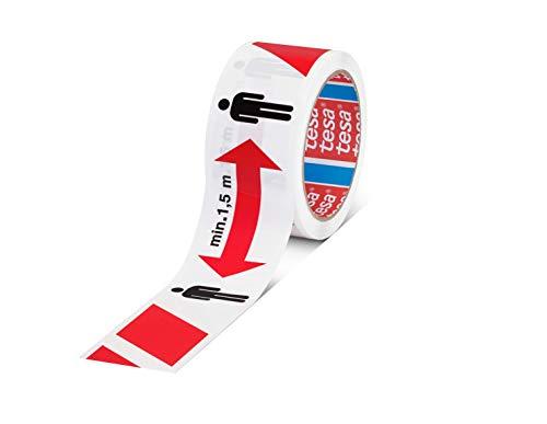tesa SIGNAL Cinta autoadhesiva de señalización para mantener la distancia - Marca 1,5 m de distancia de seguridad - Para interiores y exteriores - Blanco y rojo - 50 m x 50 mm
