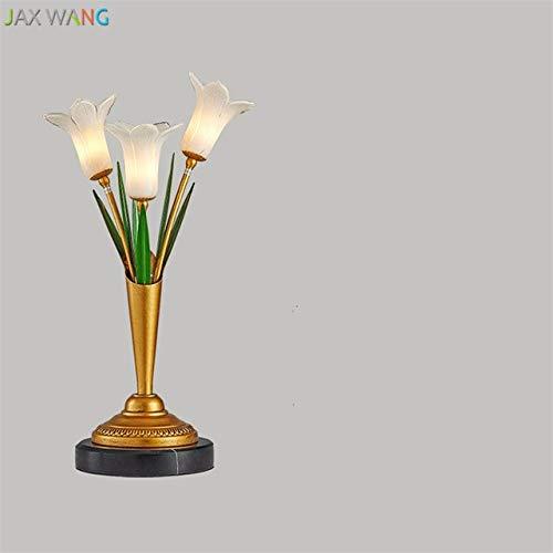 5151BuyWorld lamp, Europese bloemen, creatieve tafellamp, hoogwaardig, van glas, lampenkap, voor woonkamer, slaapkamer, bedlampje, verlichting voor bruiloft, romantische decoratie