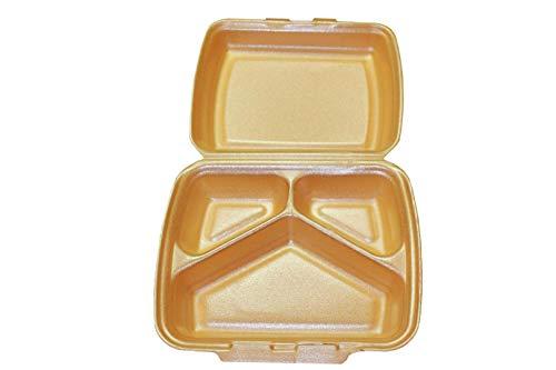 250 Menüboxen 3 geteilt geschäumt creme/orange Menüschalen