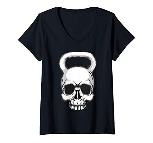Damen Kettlebell Skull Gewichtheben - Bodybuilder T-Shirt mit V-Ausschnitt