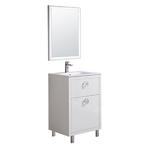 Fresca Platinum Due Glossy White 24-inch Bathroom Vanity