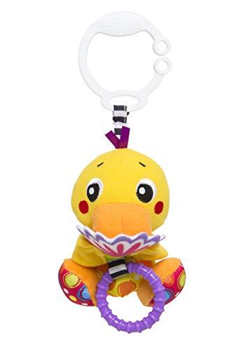 Playgro Kinderwagenanhänger Ente, Mit Versteckspiel-Funktion, Ab 0 Monate, Peek-A-Boo Wiggling Duck, Gelb, 40151
