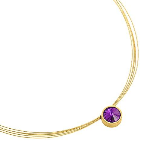 Heideman Halskette Damen Coma 13 aus Edelstahl Gold farbend matt Kette für Frauen mit Swarovski Stein Kristall Amethyst im Fantasie Edelsteinschliff