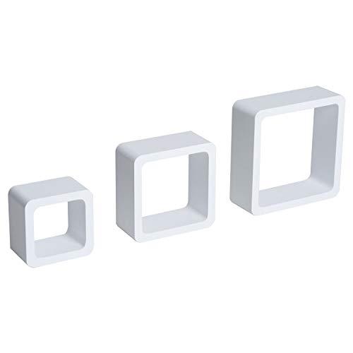 GXK Wandregal 3er Set Cube Regal Hängeregal Würfel MDF Weiß
