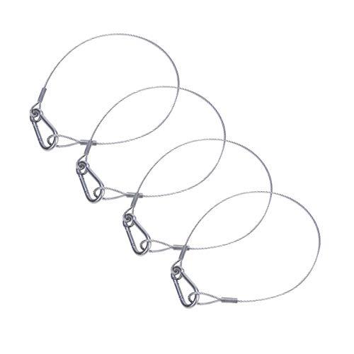 セキュリティワイヤー セキュリティケーブル ロープ セーフティ コード 落下防止 舞台照明用 地震対策 固定 ホルダー 防災用品 転倒防止(径2mm、長さ0.5m, 4個セット)