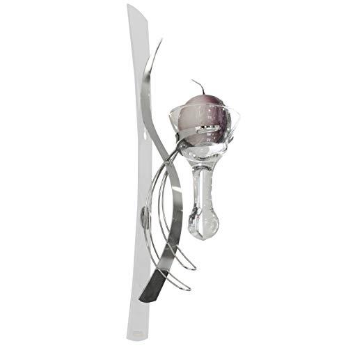 Formano Wandleuchter Kerzenhalter mit Glaseinsatz inklusive 1 Kerze, Höhe 42 cm, 1-flammig, weiß-Silber