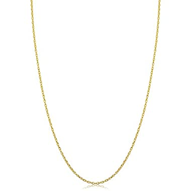 14k Yellow Gold Rope Chain Pendant Necklace for...