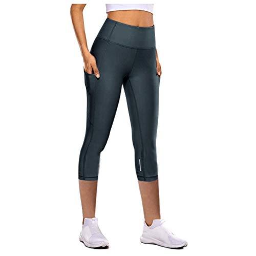 Damen Sport Leggins Hohe Taille Tights 3/4 Yogahose Nacht-Cursor Schnell trocknend Blickdichte Kurz Laufhos Fitness Hosen Jogginghose mit Taschen