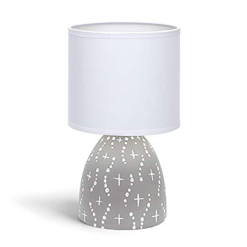 Aigostar 197025 - Lámpara de cerámica de mesa, cuerpo de diseño color gris con motivos blancos, pantalla de tela color blanco, casquillo E14. Perfecta para el salón, dormitorio o recibidor.