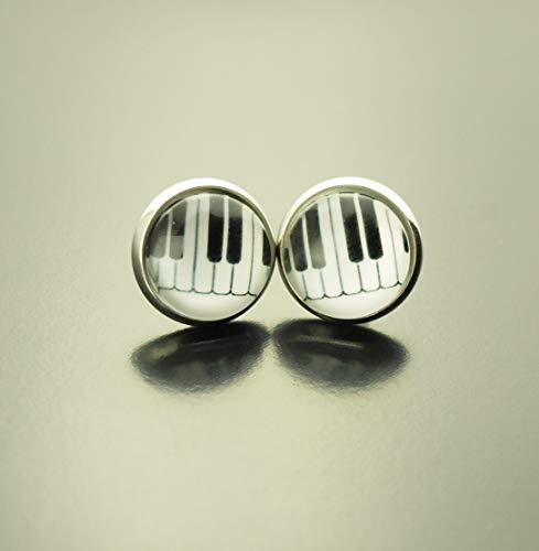 Ohrringe Musik Klaviertasten Piano Klavier schwarz weiß Glas Ohrstecker Stecker Cabochon Juvelato