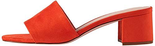 find. Wide Fit Simple Block Heel Mule Sandalias con Punta Abierta, Orange Coral, 40 EU