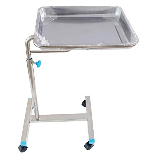 Luckya Trolley On Wheels Tool Medical Equipment Rolling Cart for Operating Room, Adjustable Height, Stainless Steel Surgical Tray Trolley with Universal Wheel