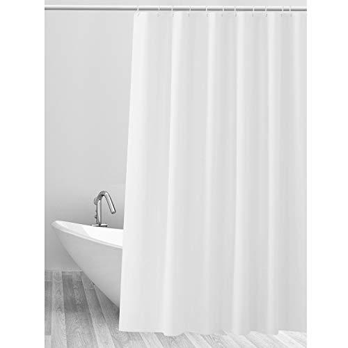 CLOFY Duschvorhänge Duschvorhang aus Polyester, Anti-Schimmel, Uni Grey - Anti-Bakteriell,Wasserdichtes Design, mit 12 Duschvorhangringen, 180 x 180 cm, Weiß