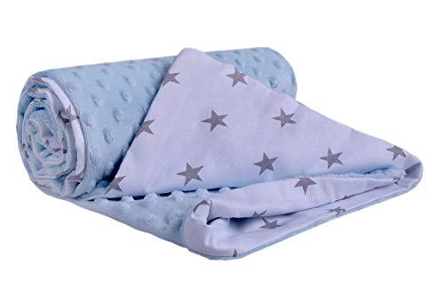 Medi Partners Krabbeldecke 100% Baumwolle 75x100cm doppelseitig multifunktional Minky Kuscheldecke für Kinderwagen weich flauschig (graue Sterne mit blauem Minky), 5903031423884