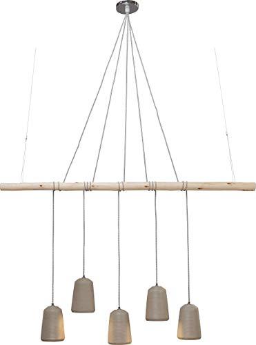 Kare Design Hängeleuchte Dining Concrete Cinque, Schirm: Beton, Baldachin, Seil: Stahl Natur, Eukalyptus Massivholz lackiert, transparent B/H/T 160 x 120 x 15 cm