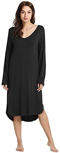 WiWi Bamboo Nightgowns for Women Soft Long Sleeve Sleep Shirt Sleepwear Comfy Loungewear Plus Size Nightshirts S-4X, Black, Small