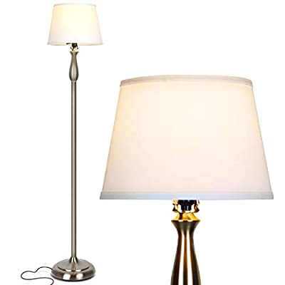 Brightech Gabriella LED Floor Lamp - Free Standing Elegant Style - Tall Pole Light for Living Room, Office Or Bedroom- Modern Upright Light with Fabric Shade - LED Bulb Included - Silver