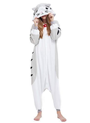 Jumpsuit Onesie Tier Karton Fasching Halloween Kostüm Sleepsuit Cosplay Overall Pyjama Schlafanzug Erwachsene Unisex Lounge, Grau Tabby Katze, Erwachsene Größe L - für Höhe 168-177CM