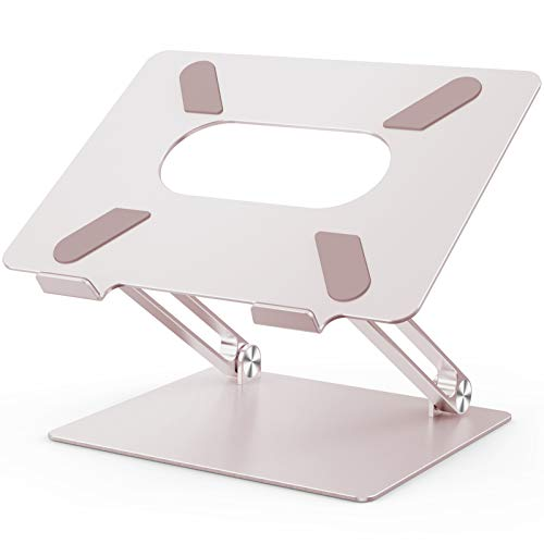 POVO Laptop Stand Adjustable Ergonomic Notebook Stand Aluminum Portable Computer Riser Holder with Heat Vents for all 10-17 Laptops (Rose Gold)