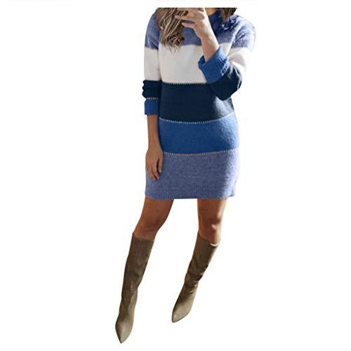 YANFANG Vestido Ajustado Mujer,Mini Vestido de Fiesta de Caderas de Paquete de Manga Larga de suéter de Punto de Mujer Sexy,, 3XL,Blue