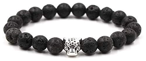 NIANXINN Pulsera de Piedra Mujer, 7 Chakra Piedra Natural Brazalete Bangle Beads Volcánico Lava Pulseras Elástica Charm Plata Leopardo Cabeza Joyería de Animal Mujeres Classic Pulsera de Chakra