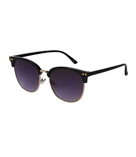 SIX Gafas de sol con lentes negras y marco dividido en dos partes, color negro y dorado (437-526)