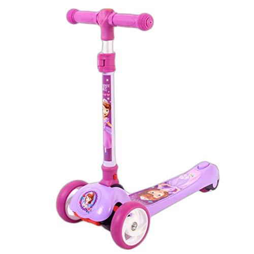 Scooters para Niños Scooter de seguridad para niños Scooters de altura ajustable para niños de 2 a 12 años - Scooter plegable con asiento extraíble, 3 ruedas ligeras LED Antideslizante Scooter Patinet