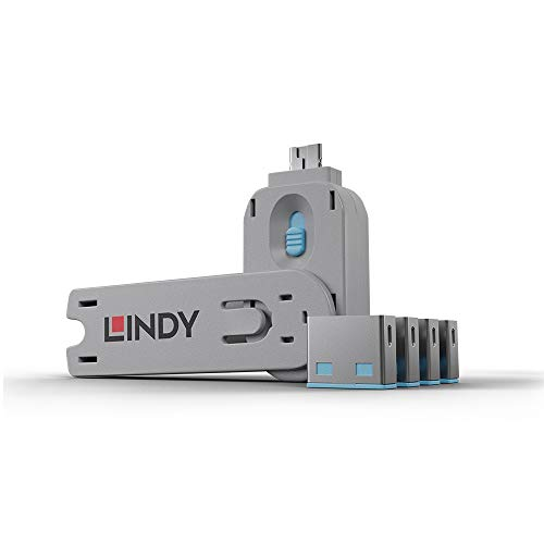 LINDY 40452 - USB Port Schloss (4 Stück) mit Schlüssel: Code Blau