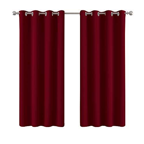 PONY DANCE Vorhang Blickdicht Rot Ösenschal - Gardinen Schlafzimmer Thermo Gardinen Blickdicht Verdunklungsvorhänge für Weihnachten, 2er Set 137 x 132 cm (H x B)