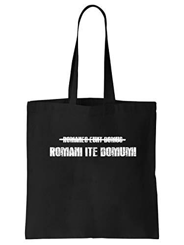 clothinx Brian Romani Ite Domum – Römer geht nach Hause | Tolles Geschenk für Latinisten Latein Lehrer und Kino-Fans | Kult Design Zum Beliebten Filmklassiker Stoff-Tasche Schwarz