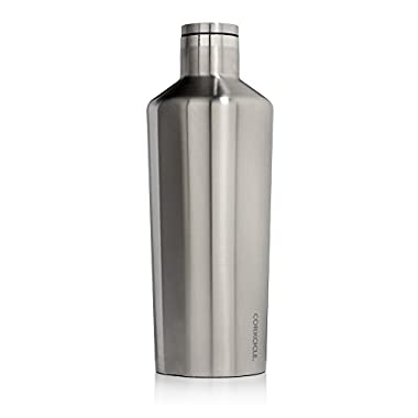 Corkcicle Canteen Classic Collection-Water Bottle & Thermos-Triple Insulated Shatterproof Stainless Steel, 60 oz, Brushed Steel