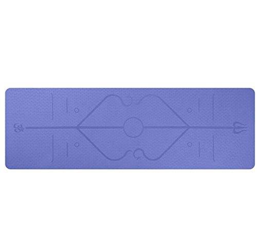 N/ 1830 * 610 * 6mm Alfombrilla de Yoga TPE con línea de posición Alfombra Antideslizante Alfombra para Principiantes Alfombrillas de Gimnasia para el Medio Ambiente