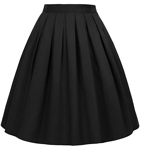 GRACE KARIN 50's Retro Pleated Skirt Knee Length Black Size XL CL6294-28