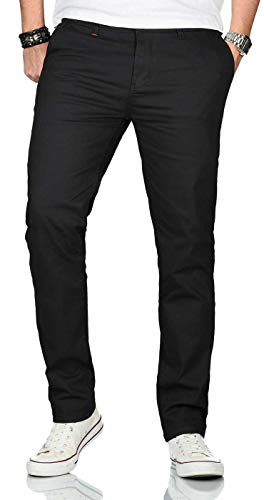 Maurelio Modriano Herren Designer Chino Stoff Hose Chinohose Stretch Regular Fit [MM-002-Schwarz-W32-L30]