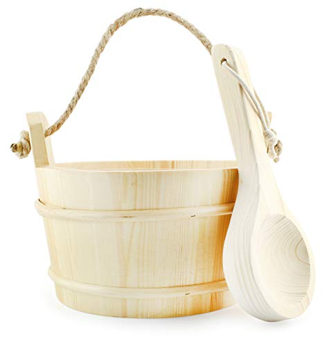 Cornucopia Wooden Sauna Bucket with Ladle, Pinewood Pail with Rope Handle and Liner with Matching Wooden Spoon
