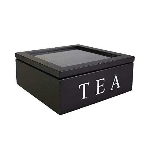 Souart Teebox, Aufbewahrungsbox für Teebeutel Teekiste Teebeutel Box aus Holz mit Deckel 3 Farben(Schwarz)