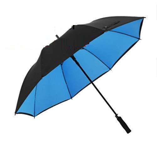 TONGS Automatisch Gerade Doppelschicht Golf Regenschirm,Draussen Sonnenschirm,Bergsteigen,Freizeit,Regenschirm,Doppelt Rippe Gemütlich Griff/Blau / 150cm