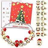 Ensemble de Bracelets de Noël à Monter Soi-Même pour Femmes et Enfants avec Calendrier de l'Avent Boîte à Breloques 3D Émojis Amusant Visage Perles AmitiÉ Empilables Kit de Fabrication de Bracelet