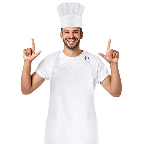 HIYUMY Chef Hat and Kitchen Apron Set, Cotton Adjustable Bib, Perfect for Adults Cooking, Baking, Painting (White)