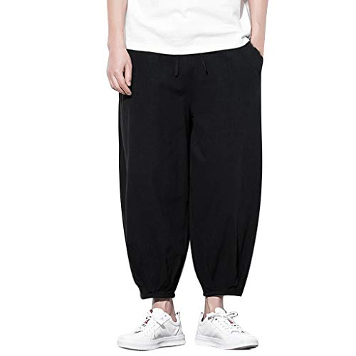 MOTOCO Herren übergroße Pluderhosen Baumwolle lässig Baggy Pants Loose Fit Herbst Boho Hippie weites Bein elastische Taille Hose(XL,Schwarz-1)