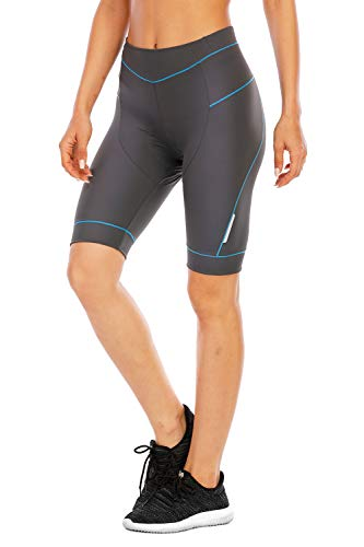 4ucycling Damen 3D gepolsterte Fahrradhose Damen Radhose Radhose UPF 50 Damen Laufhose Capri Bike Tights