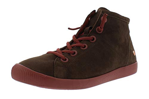 Softinos Damen Sneakers ISLEENII558SOF, Frauen High Top Sneaker,lose Einlage, sportschuh Sneaker-Stiefelette mid-Cut,Braun(Brown),40 EU / 6.5 UK